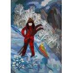 """Учебная работа. Царева Алена, 11л, """"На лыжах"""", бумага, гуашь, 42х60см"""